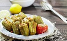 Stuffed zucchini with a special Middle Eastern spiced rice and beef filling! With step-by-step tutorial! Greek Recipes, Vegetable Recipes, Vegetarian Recipes, Brown Sugar Pork Chops, Gourmet Appetizers, Stuffing Ingredients, Spiced Rice, Grain Foods, Mediterranean Dishes