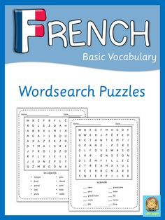 Set of 34 French wordsearch puzzles. They cover all topics from adjectives to weather.