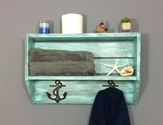 Bathroom shelves bathroom wall shelf towel rack shelf coastal shelf nautical she Shelves Over Toilet, Bathroom Wall Shelves, Entryway Shelf, Coastal Bathroom Decor, Coastal Decor, Coastal Style, Bathroom Ideas, Coastal Curtains, Coastal Bedding