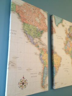 Canvas wrapped with oversized world map