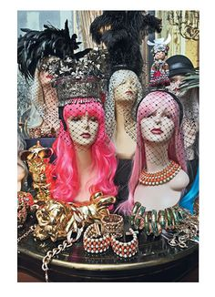 """Anna Dello Russo - MAD HATTER: """"For a long time, we didn't wear headpieces. Why not? They're such an important part of fashion. I'm totally crazy for them—I have ones from Alan Journo, Piers Atkinson, Philip Treacy—but in order to store them properly, I had to start buying heads, and then wigs [left]. So now my collection is a little scary. A veil gives you a very sensual attitude, like what a high heel does for a leg. Of course it's difficult to eat or drink when you're wearing one."""""""