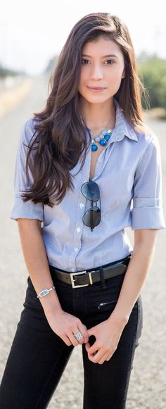 Black Jeans to the Office with a nice shirt and statement necklace.