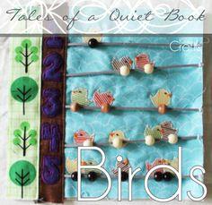 Artisanat de Kit - livre calme, les oiseaux sur un fil de comptage page