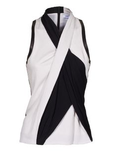 Twisted Drape Black and White by JadesFashion - THE LEATHER IS A NICE UNEXPECTED DETAIL.