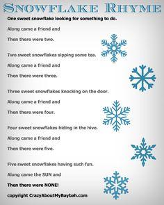 25 Winter and Christmas Crafts for Kids Felt Board Snowflake Rhyme #Toddlers #Preschoolers #Homeschool #FreePrintable