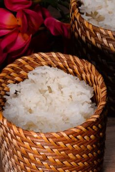 Laotian Sticky Rice (Khao Niew) Eggplant Side Dishes, Curry Side Dishes, Thai Dishes, Food Dishes, Sticky Rice Recipes, Laos Food, Glutinous Rice, Asian Cooking, World Recipes