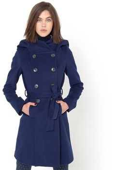 Pin for Later: Don't Compromise Your Style Just Because It's Raining La Redoute R essentiel Hooded Double-Breasted Wool Coat with Belt La Redoute R essentiel Hooded Double-Breasted Wool Coat with Belt (£54, originally £99)