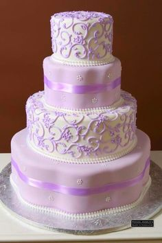 Lavender And Lilac Wedding Inspiration: 95 Delicate Ideas - Hochzeit 4 Tier Wedding Cake, Purple Wedding Cakes, Lilac Wedding, Beautiful Wedding Cakes, Gorgeous Cakes, Wedding Cake Designs, Pretty Cakes, Wedding Ideas, Wedding Themes