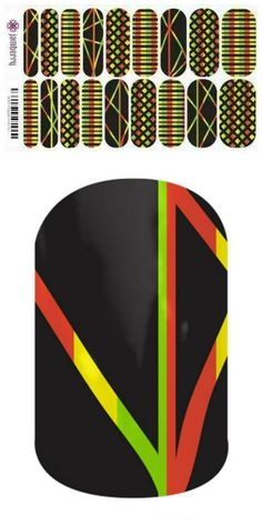 REGGAE A-GO-GO wraps  #nailart #newjamberry #jamberry #nails #manicure #pedicure #nailwraps. Email for more info on how to order this wrap by Jamberry - lisavandiver18@gmail.com