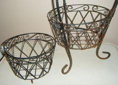 Cottage Black Wire Iron Planter Display Basket by slatternhouse5, $39.50