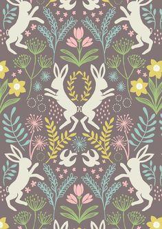 """Stoff Tiermotive - """"Spring Hare"""" Hasen, braun, Pastell L... - ein Designerstück von FrauFrech-und-HerrFroehlich bei DaWanda"""
