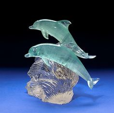 Superb Pair of Carved Aquamarine Dolphins, by Gerd Dreher