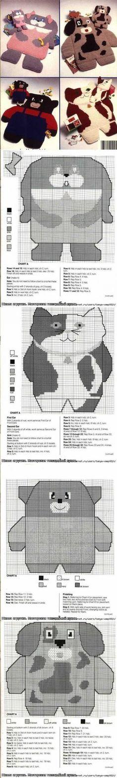 Вязанные коврики-зверята со схемами