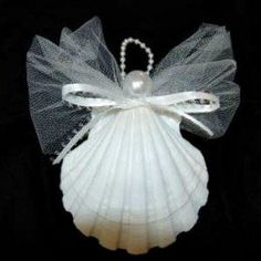 Tulle netting, satin ribbon and faux pearl & faux pearl string