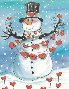 Snowman with hearts for Valentines day : >) I can keep my snowmen out longer. Christmas Snowman, Winter Christmas, Vintage Christmas, Christmas Holidays, Merry Christmas, Christmas Decorations, Winter Fun, Frosty The Snowmen, Cute Snowman