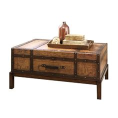 Old World Map Trunk Coffee Table Trunk coffee tables Coffee and