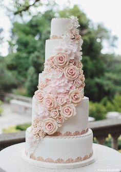Beautiful wedding cake  (Style File: Rose-Gold Glamour   WedLuxe Magazine)