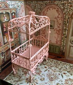 Pink Dollhouse Scrolled Miniature Metal Baby Crib by Jewelmoon