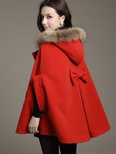 Red Hooded Cape Wool Blend Duffle Poncho | Choies