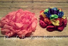 Unfinished Handmade Singed flowers Coral Petal and Rainbow Rolled flowers. Choose your color by CherylsBowtasticBows