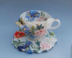 """Купить Чайная пара """"Прекрасный сад"""" - чашка с блюдцем, чашка с росписью, чашка с цветами"""