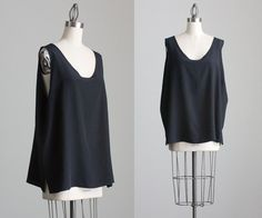 90s Vintage Silk Black Loose Fit Tank Top By Adriana by decades, $42.00