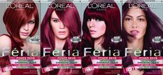 Second to the right is my hair color. Loreal Hair Color Chart, Dyed Hair Purple, Violet Hair, Feria Hair Color, Red Hair Color, Box Hair Dye, Dye My Hair, L'oréal Paris, Red Hair