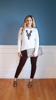 Outfitted411: Marooned and Mules...burgundy denim, sweater, leopard print mule heels and clutch, winter fashion