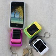 "Solar power keychain charger for iPhone.     I had this idea for mobile, ""stack-able"" chargers that you plug into the wall and take with you as each one fills up.     ...but these are way better."