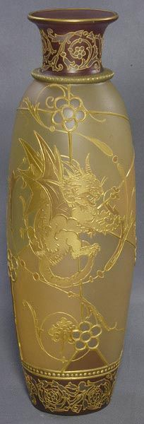 Mt Washington Glass; Royal Flemish, Vase, Mythological Dragon & Fish, 14 inch HOA