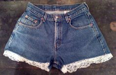 High waisted Levi shorts with lace trim! Super cute.