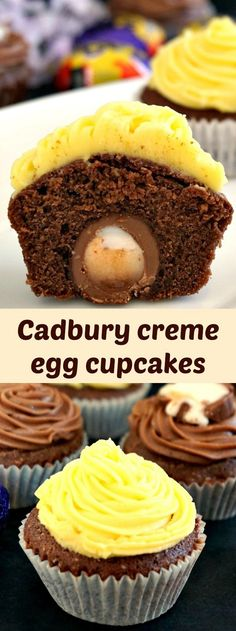 Cadbury creme egg cupcakes with a delicious chocolate sponge and two superlicious icing choices: chocolate and lemon. This is seriously the most delicious Easter treat ever! (cooking with kids cupcakes) Desserts Ostern, Köstliche Desserts, Delicious Desserts, Easter Desserts, Cupcake Recipes, Baking Recipes, Cupcake Cakes, Dessert Recipes, Baking Cupcakes