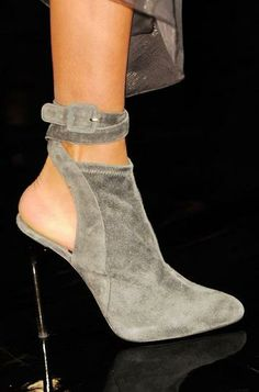 The 50 Best Shoes From New York Fashion Week: Donna Karan grey suede cut-out ankle boots