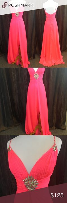 Coral Prom or Party Dress Gorgeous coral color, very flattering to the slim figure. Mac Duggal Dresses Prom