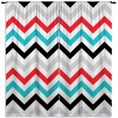 Modern Chevron Window Curtains, Teal, Red, Gray and Black, but can do - ANY COLORS