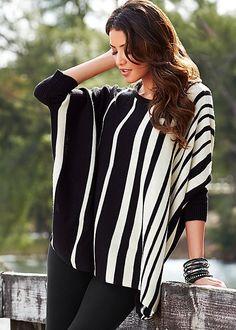 BLACK MULTI Varied stripe sweater from VENUS