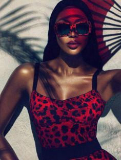 Naomi in red leopard print dress for Dolce & Gabanna Animalier eyewear collection