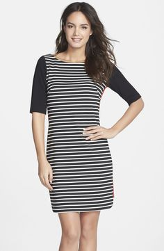 Mixed Stripe Ponte Shift Dress / @nordstrom