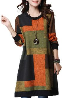 Round Neck Long Sleeve Color Block Pocket Dress with cheap wholesale price, buy Round Neck Long Sleeve Color Block Pocket Dress at Rotita.com !