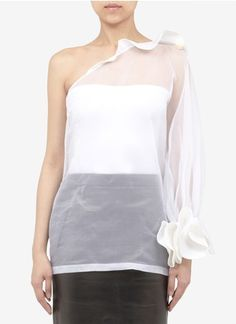 Givenchy - Ruffled one-shoulder silk-organza top | White Blouses & Shirts Tops | Womenswear | Lane Crawford - Shop Designer Brands Online