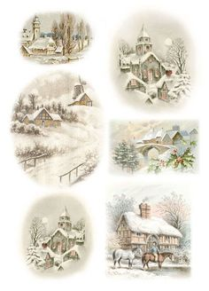 rice paper for decoupage decopatch scrapbook craft sheet vintage winter village3 decoupage. Black Bedroom Furniture Sets. Home Design Ideas