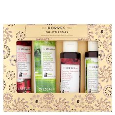 The KORRES Oh Little Stars Gift Set combines a collection of treats to cleanse and moisturise. Powered by a host of natural extracts and nourishing ingredients, the seasonal gift set contains miniature editions of their coveted shower gel and body milk to leave skin feeling refreshed and re-balanced, with a rich fragrance that lingers. Housed in limited edition festive packaging. Free from parabens, mineral oil, silicone, propylene glycol and ethanolamine.