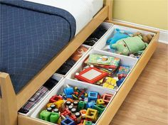 Trundle for Toys  Turn a trundle bed into a place to keep toys organized and hidden.  Spotted at iVillage.