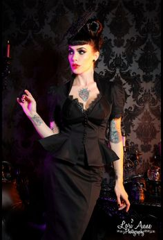 Vintage Goth Pinup Capsule Collection- Lilith Top in Black (Pinup Girl Clothing)