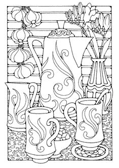Coloring pages for older kids. I want to color this with my Mom!BlueDrago - Coffee Set - Ideas of Coffee Set - Coloring pages for older kids. I want to color this with my Mom! Coloring Book Pages, Printable Coloring Pages, Coloring Sheets, Colouring Pages For Adults, Digi Stamps, Colorful Pictures, Pictures To Colour In, Zentangles, Embroidery Patterns