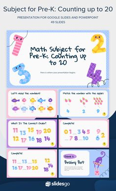 Use this cute template full of funny illustrations of numbers to teach your students to count from 1 to 20! Download it in Google Slides and PowerPoint. #Slidesgo #FreepikCompany #presentations #themes #templates #GoogleSlides #PowerPoint #GoogleSlidesThemes #PowerPointTemplate #education #lesson #prek #math #cute #funny #teacher Counting To 20, Funny Illustration, Illustrations, Education Templates, Kids Learning Activities, Slide Design, Presentation Templates, Teaching, Math
