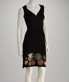 Take a look at this Black Flower Surplice Dress by Desigual on #zulily today!