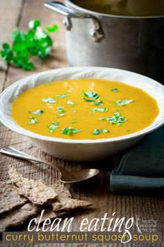 Clean Eating Curry Butternut Squash Soup with coconut milk. Only 180 creamy delicious calories per bowl. Gluten-free, paleo and vegan. Perfect cure for the overindulgences of the holiday season. This soup will set you right! on healthyseasonalre...