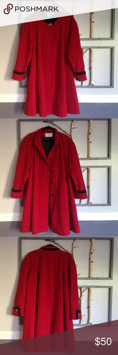 Retro Alert! Swing Coat Does it get more 50s or Norman Rockwell than this? Beautiful Wool Dark Red Swing Coat is stylish and warm (it's made in Russia where they know a bit about the cold!) This makes you feel happy as you sashay around.  Black Velvet on the collar if you wear it up.  Pretty gold button holds it together at top and four buttons down the front are hidden by a panel when closed. Two slit pockets. In great used condition. 13/14 but easily up to 2x, maybe more. Can't bundle due…