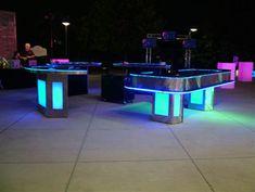 Monte Carlo Casino Productions have just launched the one thing missing from your gaming room, an awesome illuminated colour changing casino table. Choices include Blackjack, Craps, Roulette and Texas Hold'em Poker